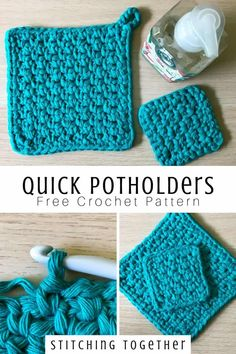 crochet potholder patterns Quick and easy crochet potholder you can whip up in less than an hour with this free crochet pattern. Make a mini version with the leftover yarn. Crochet Kitchen, Crochet Home, Crochet Crafts, Crochet Ornaments, Crochet Snowflakes, Crochet Sheep, Crochet Angels, Crochet Potholders, Crochet Motifs