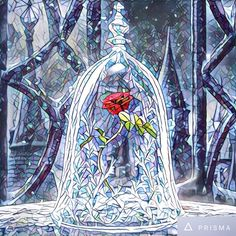 Beauty and the Beast- Enchanted Rose in Stained Glass Window