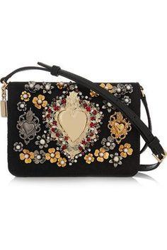 Embellished leather-trimmed jacquard shoulder bag #shoulderbag #women #covetme #dolce&gabbana #covetme #love #fashion #clothes #shoes #makeup