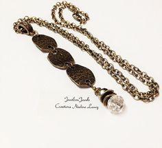Antique Brass Pyrite Crystal Necklace Antique by JewelzonJewelz