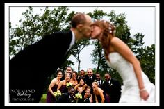 Bridal party, bride and groom kissing over party Amber and Colby's Wedding ~ Twin Hills Country Club, East Longmeadow MA