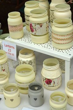 Handmade candle lanterns from old jars