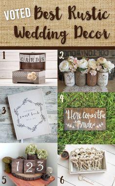 Best Rustic Wedding Decor - Wedding Decorations - Shabby Chic Wedding - Wedding Favors - Wedding Signs