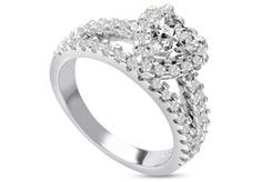 1 2/3ct Heart Halo Diamond Engagement Ring Crafted in 14 Karat White Gold - Also Available in Yellow and Rose Gold