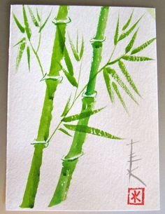 Sumi Ink Watercolor Bamboo Card by TeresaKasner on Etsy, $5.00