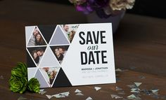 Triangles lend this Save the Date card a modern, edgy feel! A perfect way to announce your upcoming wedding!