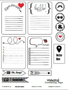 Free Whimsical Journaling Cards and Labels for Project Life from Vintage Glam Collectibles