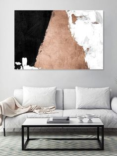 Night & Day (Acrylic) by Oliver Gal | black, copper, white | Gilt