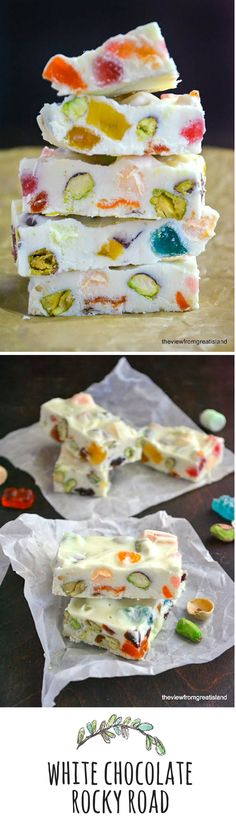 This classic and beautiful pastel bark is so easy to make, just gather up your favorite nuts and candies to stir into melted white chocolate. Fudge Recipes, Candy Recipes, Chocolate Recipes, Homemade Chocolate, Köstliche Desserts, Delicious Desserts, Dessert Recipes, White Chocolate Rocky Road, Chocolate Bark