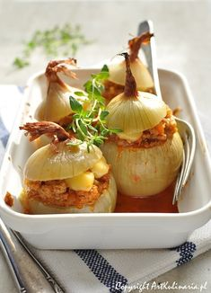 Throw some Polish into your life: Roasted onions stuffed with meat ragout. Small but filling baked dish of onions and meat.