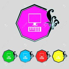 Monitor De La Computadora Y El Icono De Teclado. Definición De Botones De Colores. Ilustración Vectorial Ilustraciones Vectoriales, Clip Art Vectorizado Libre De Derechos. Pic 31698030. Monitor, Computers, Keyboard, Buttons, Icons