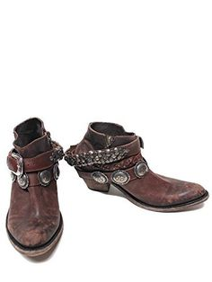"""LIBERTY BLACK Toscano T-Moro Belted Womens Boots - Brown LB-712310ABRN-Brown-7-M. Ankle zip boot. Soft pointed toe. 3"""" high heel. Distressed brown sole and heel finish."""