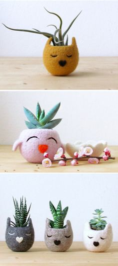 The coolest planters I've ever seen.. Felt creations by The Yarn Kitchen, on the blog today! http://www.artisticmoods.com/theyarnkitchen/