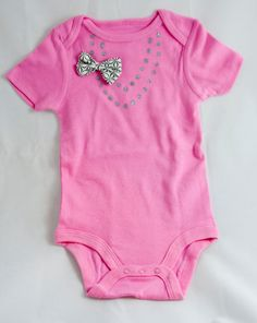 Stylish Pink Baby Girl Onesie with Necklace and Bow