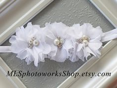 Tattered White Chiffon Flower Headband - Triple Pure White Baby Flower Hair Bow - Infant or Toddler Shabby Chic White Flower Headband