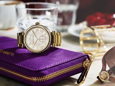 The perfect purple purse with a gold watch! Michael Kors Gold, Handbags Michael Kors, Michael Kors Watch, Mk Watch, Gold Watch, Purple Purse, Purses For Sale, Fashion Handbags, Accessories