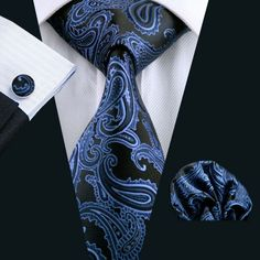 Blue and Black Paisley Necktie Set LBW981