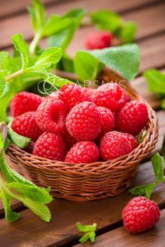 Fresh raspberries.