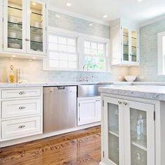 Blue Subway Tile Backsplash, Transitional, kitchen, Hampton Design