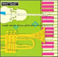 """Stuff Smith (the great """"Swing"""" violinist) with Dizzy Gillespie & Oscar Peterson"""