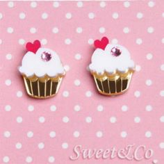 To replace the ones Bunny stole. White Cupcakes, Love Cupcakes, Glass Pendant Shades, Glass Pendants, White Gold Jewelry, All You Need Is Love, Crystal Jewelry, Gold Earrings, Swarovski Crystals
