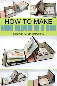 Empolgante Make an interactive mini album in a box using a ready made box and double sided . Make an interactive mini album in a box . Mini Album Scrapbook, Diy Mini Album, Mini Album Tutorial, Scrapbook Cards, Scrapbooking Layouts, Explosion Box Tutorial, Heritage Scrapbooking, Wallet Tutorial, Photo Album Scrapbooking