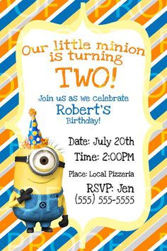 minion birthday invitation despicable me parties pinterest