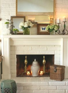 Spring Mantels and Ideas For Everyone! Mantel Ideas, Mantles Decor, Fireplace Mantle Decorations, Fire Place Mantel Decor, Decorating A Mantle, Fireplace Mantels, Summer Mantle Decor, Decorating Ideas, Mirror Over Fireplace