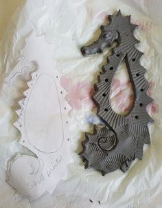 Clay seahorse for weaving Sample Wooley Art Ed Central