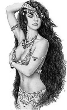 black and white drawing of a belly dancer with stunning long hair