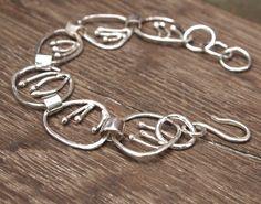 Filigree Bracelet, Oval Chain, Flower Stem Centers, Stylized links, Sterling Silver Jewelry, Shillyshallyjewelry, by ShillyShallyjewelry on Etsy