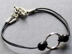 Black Leather and Sterling Silver Jewelry by NewMorningJewelry, $26.00