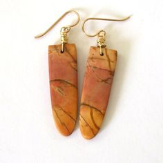 Peach Picasso Jasper Earrings Natural Stone by BeachGirlBeads, $32.00