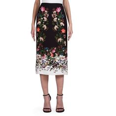 Erdem Maira Silk Crepe Midi Skirt (£180) ❤ liked on Polyvore featuring skirts, apparel & accessories, long midi skirt, long skirts, white knee length skirt, floral print midi skirt and long white skirt