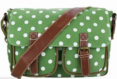 A green and white polka dot print satchel style shoulder bag messenger bag premium quality thick canvas fabric with brown faux leather trim and a