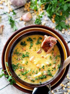 zupa_z_grochu Best Soup Recipes, Vegan Recipes, Cooking Recipes, I Love Food, Good Food, Yummy Food, Vegan Gains, Polish Recipes, Ketogenic Recipes