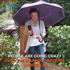 Double Layer Reverse Umbrella - ⭐⭐⭐⭐⭐ Check out our Amazing Double Layer Reverse Umbrellas! We absolutely LOVE these reverse umbrellas! They're super easy to open and close, even in confined Simple Life Hacks, Useful Life Hacks, Gadgets And Gizmos, Cool Gadgets, Confined Space, Folding Umbrella, Ideas Geniales, Cool Inventions, Going Crazy