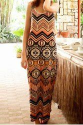 Sleeveless Round Collar Print Design Color Block Wide Hem Women's Dress