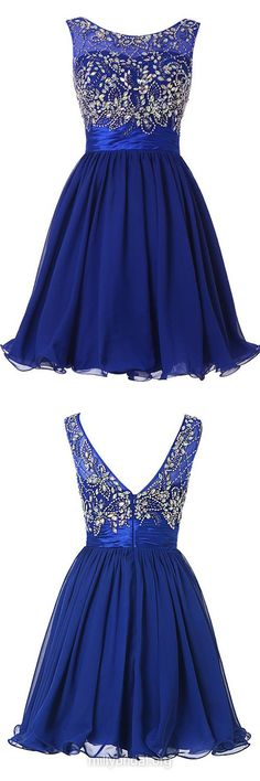 Discount Royal Blue Prom Dresses,A-line Scoop Neck Chiffon Party Gowns, Tulle Short Cocktail Dress,Beading Homecoming Dresses