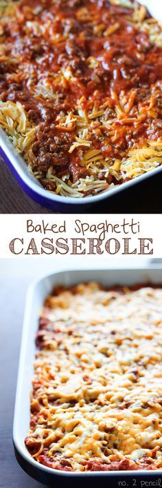 Baked Spaghetti - Bite sized pieces of spaghetti baked together with homemade meat sauce and melty cheddar cheese.