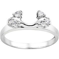 Sterling Silver 1/8ct TDW Diamond Solitaire Ring Wrap (G-H, I2-I3) (White, Size 13), Women's