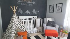 black, white, grey, orange modern woodland nursery