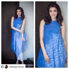 #Repost @neeraja.kona with @repostapp. ・・・ Simple and clean! Love the @anitadongregrassroot separates on @kajalaggarwalofficial ... #SardaarGabbarSingh promotions @ashgudala @rangdephotography