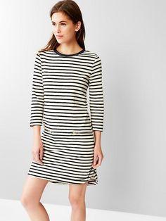 Stripe zip-pocket shirttail dress