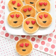 Mini Emoji pancakes. Cute and easy breakfast idea!