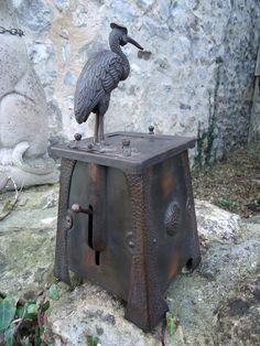 Antiques Atlas - Arts & Crafts Heron Cigarette Dispenser