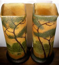 Enamelled glass vases LEGRAS top french art nouveau by brikoloor, $595.00