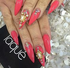 Love these, Coral stiletto nails with  pearls