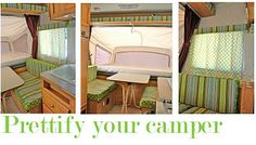 covering up ugly camper upholstery with minimal effort
