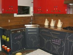 When we buy our house (eventually) I will have these Chalkboard cabinets.  I love the kid friendly-ness of them.  Plus I saw David Bromstad do them once and I couldn't love him more!